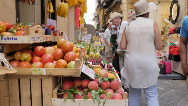 Fruit stall on Via S. Cesareo, Sorrento, Costiera Amalfitana (Amalfi Coast), UNESCO World Heritage Site, Campania, Italy, Europe