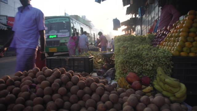 fruit street market at india - chennai stock videos & royalty-free footage