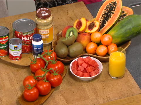 fruits a wide variety of fruits and products that contain healthy antioxidants which are beneficial to the skin helping with pigmentation, redness,... - healthy lifestyle stock videos & royalty-free footage
