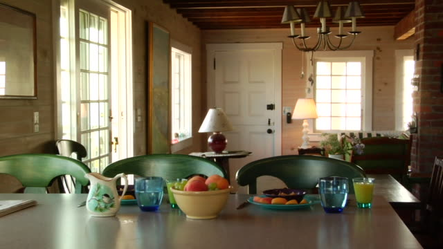 MS, Fruits and beverages on table in cottage, North Truro, Massachusetts, USA