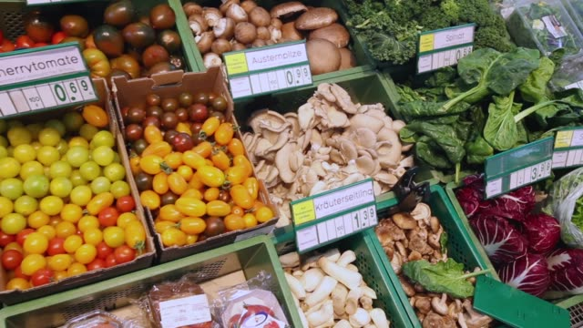 Fruits and vegetable selection at a Veganz vegan grocery store on February 2 2018 in Berlin Germany Veganz has three stores in Berlin and sells a...