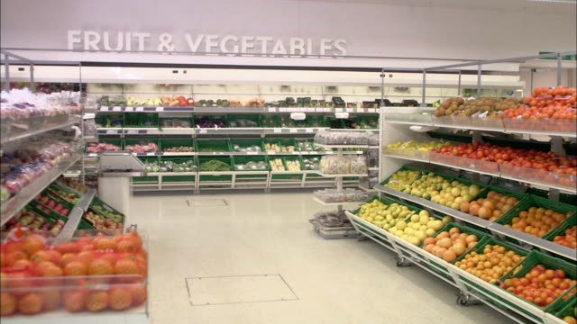 WS Fruits and vegetables in supermarket / North Finchley, London, UK