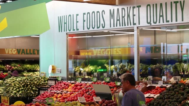 fruits and vegetables sit on display inside a whole foods market 365 location during the grand opening in santa monica california us on wednesday aug... - whole foods market stock videos and b-roll footage
