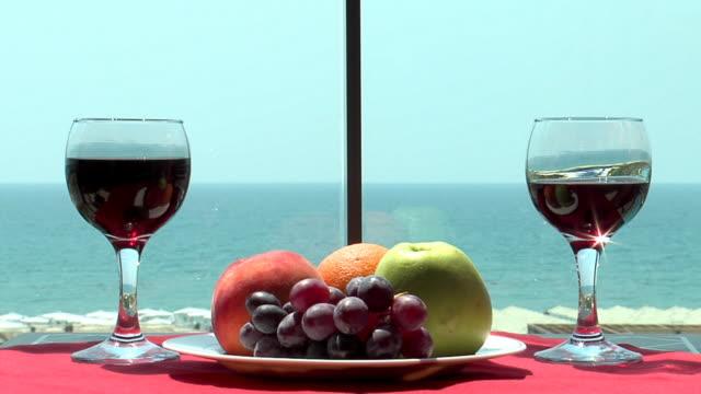 Fruits and wine setup