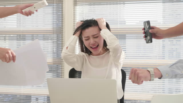 ms frustrated and overworked businesswoman - restlessness stock videos and b-roll footage