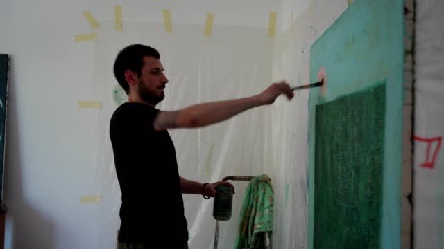 frustrated artist painting a picture - canvas stock videos & royalty-free footage