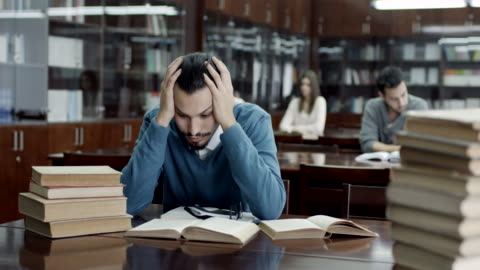 frustrated college student - educational exam stock videos & royalty-free footage