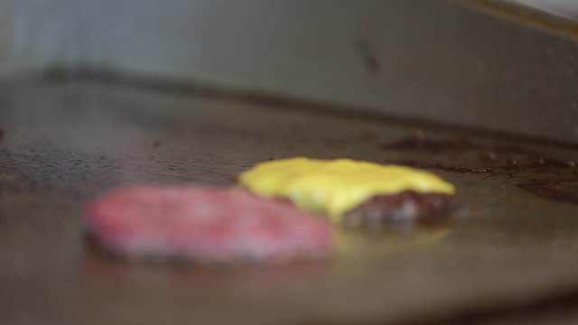 stockvideo's en b-roll-footage met een cheeseburger frituren - burger menselijke rol