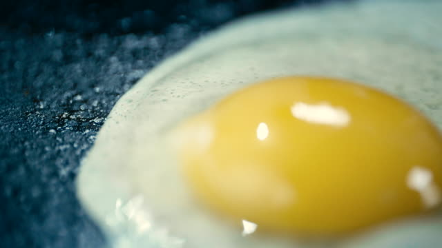 Frying Egg in a Pan on a Gas Stove - 4k Video