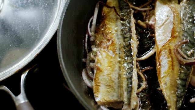 frying fish - grigliare video stock e b–roll