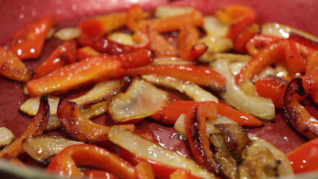 frying peppers and onions - bell pepper stock videos & royalty-free footage