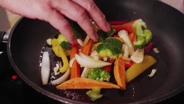 frying vegetables - dieting stock videos & royalty-free footage
