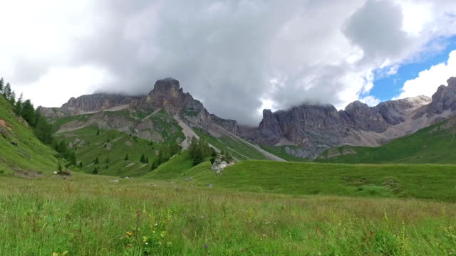 fuciade valley - passo san pellegrino - dolomites - italy - pjphoto69 stock videos & royalty-free footage