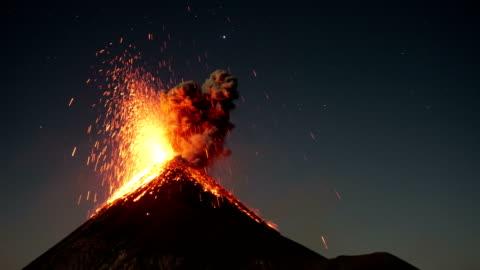 fuego by night - volcano stock videos & royalty-free footage
