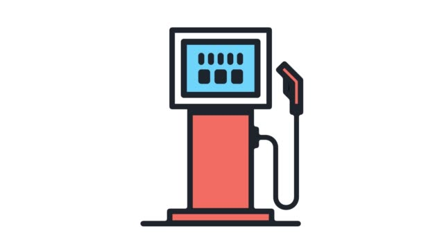 fuel consumption flat line icon animation with alpha - fuel pump stock videos and b-roll footage