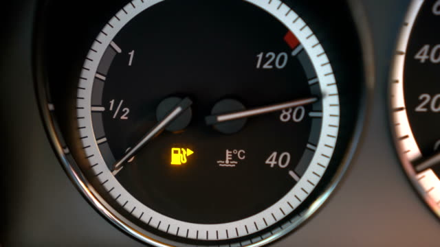 fuel gauge car dashboard shows fuel is running out - dashboard vehicle part stock videos & royalty-free footage