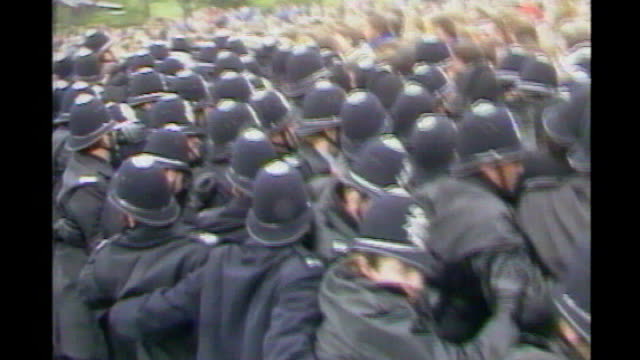 fuel tanker drivers' threatened strike government criticised over handling of dispute 161984 orgreave steel plant clashes between picketing miners... - 1984 stock-videos und b-roll-filmmaterial