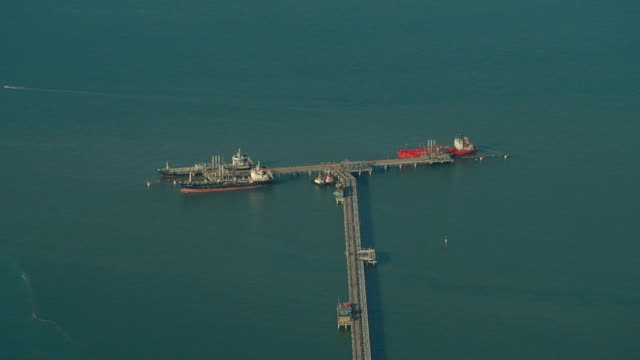 Fuel Tankers Moored at Jetty, Malaysia