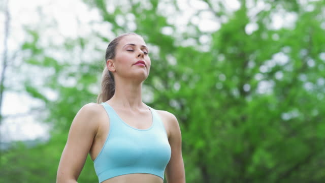 fuel your workout with fresh air - breathing exercise stock videos & royalty-free footage