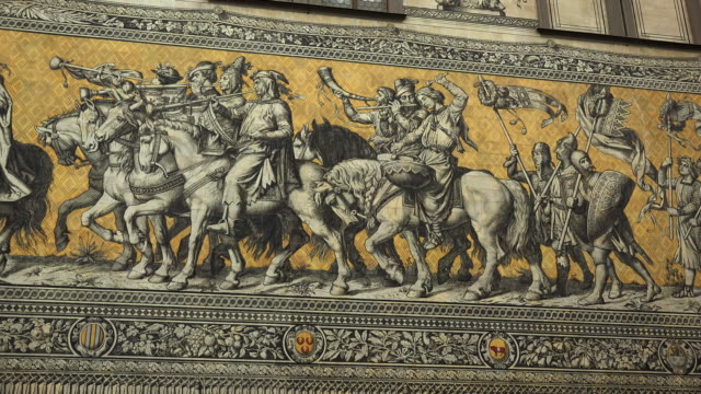 fuerstenzug (procession of princes), mural made of meissen porcelain, dresden, saxony, germany - dresden germany stock videos & royalty-free footage