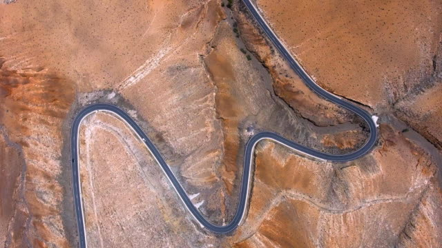 fuerteventura mountains road aerial view - desert stock videos & royalty-free footage