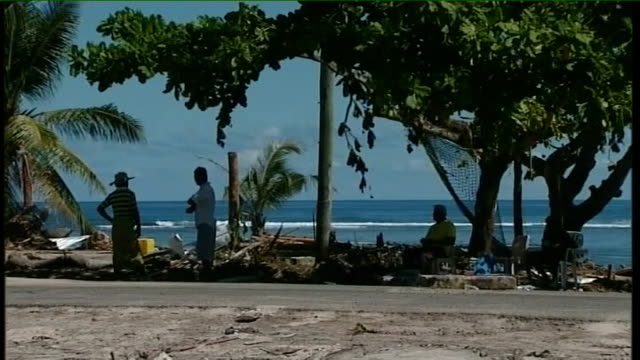 day fuimaono talia taufua sitting in shade of tree on beach fuimaono talia taufua interview sot tells of the family members he has lost in the tsunami - samoa stock videos & royalty-free footage