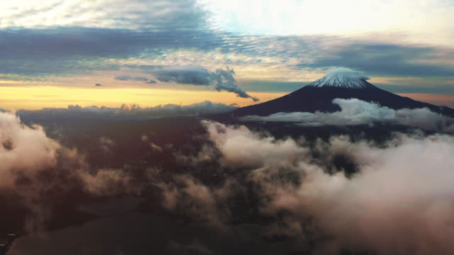 fuji mountain aerial view - fog stock videos & royalty-free footage