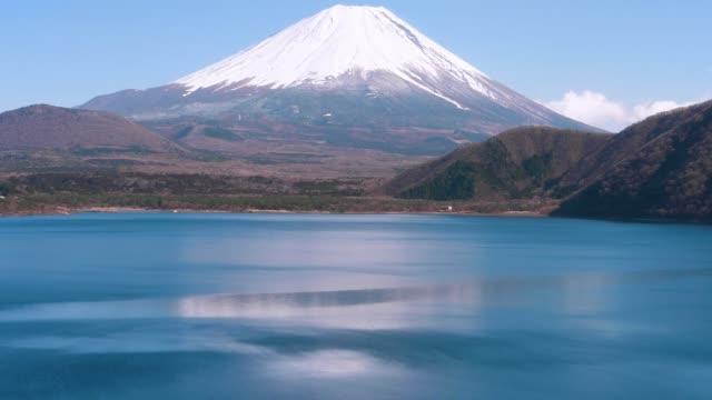 fuji mountain from shoji lake ; shift motion - satoyama scenery stock videos & royalty-free footage