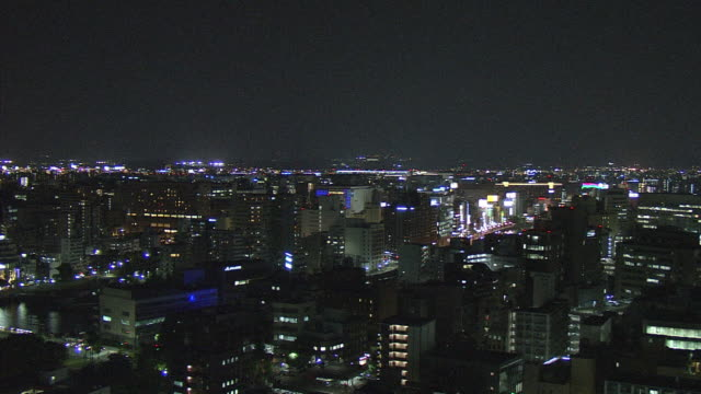 vídeos y material grabado en eventos de stock de fukuoka?s night view filmed from fukuoka tower and steel tower of kbc in fukuoka-city.? ?fukuoka tower? is a symbolic land mark tower stands in... - prefectura de fukuoka