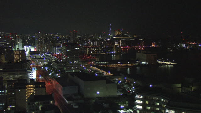 "vídeos de stock, filmes e b-roll de fukuoka's night view filmed from fukuoka tower and steel tower of kbc in fukuokacity  ""fukuoka tower"" is a symbolic land mark tower stands in western... - fukuoka prefecture"