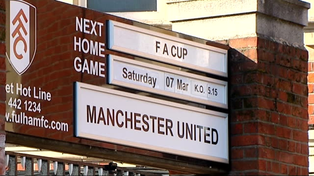 general views Craven Cottage ENGLAND West London Fulham Craven Cottage EXT Posters telling fans that tickets for Fulham v Manchester United FA Cup...