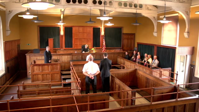 Full Courtroom (USA flag) - Two Shots, Crane Shots