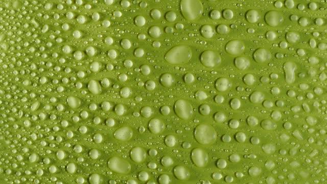 vídeos de stock, filmes e b-roll de full frame of splashes of water drops that fall and slide on a yellow background. - bolha de replicação
