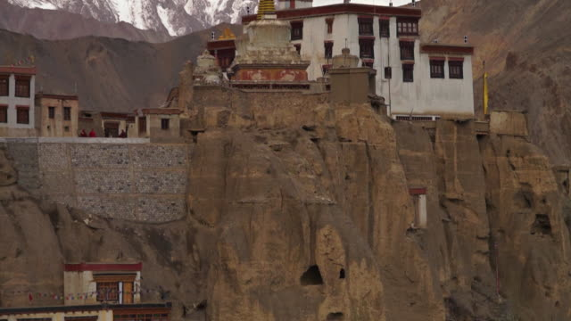 full front view of lamayuru  monastery, ladakh - weathered stock videos and b-roll footage
