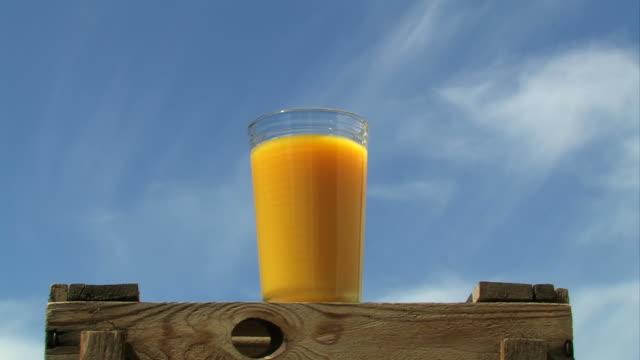Full glass of orange juice - Time Lapse