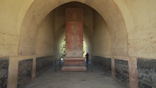 full length of tourist walking by stele - beijing, china - ming tombs stock videos and b-roll footage