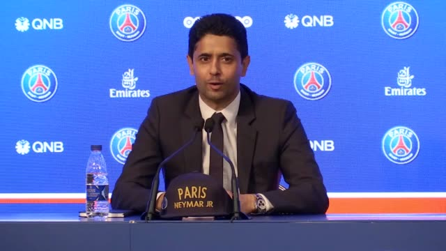 full length press conference with psg chairman nasser al khelaifi and new signing neymar who has joined from barcelona for a world record fee of 222m... - neymar da silva stock videos & royalty-free footage