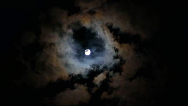Full Moon and Cloudy Sky in Night