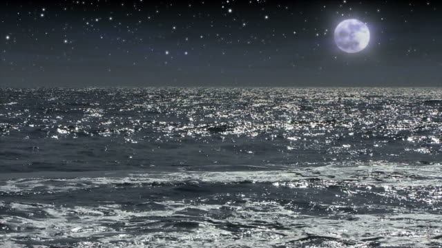 full moon and stars over moonlit ocean waters. - digital enhancement stock videos and b-roll footage