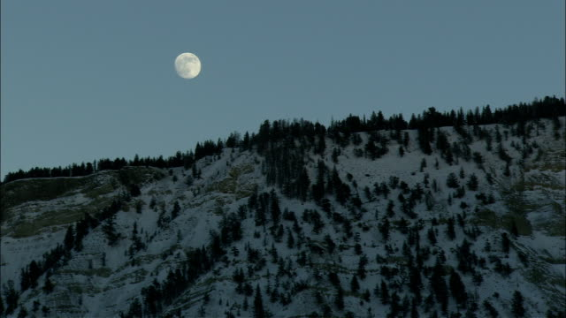 a full moon glows above snowy, wooded mountains. - full moon stock videos & royalty-free footage