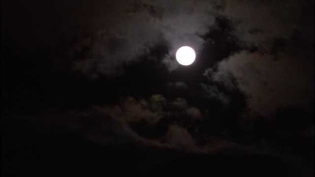 Full moon high in sky