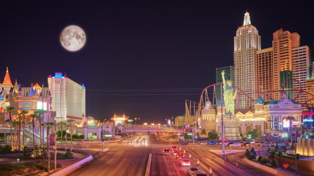 full moon in las vegas, the strip - the strip las vegas stock videos and b-roll footage