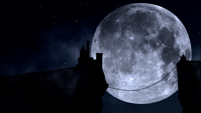 manoir pleine lune en boucle - shade stock videos & royalty-free footage