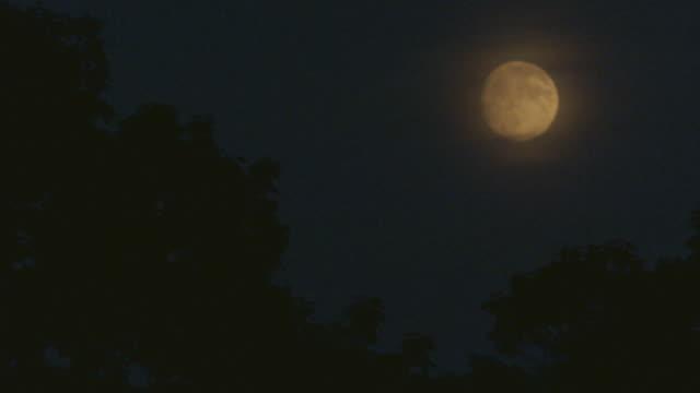 Full moon moving slowly across the sky