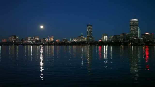 full moon over boston - back bay boston stock videos & royalty-free footage