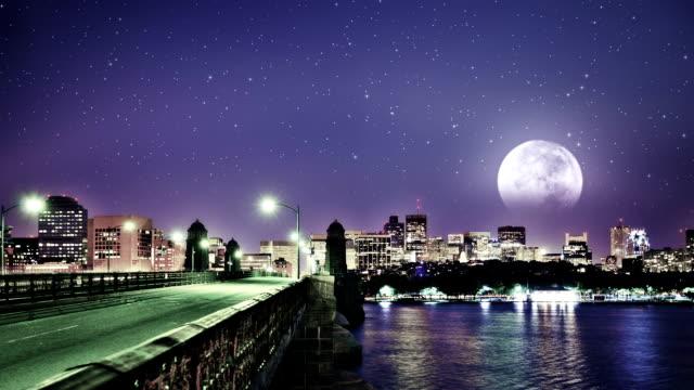 full moon over boston - boston massachusetts stock videos and b-roll footage