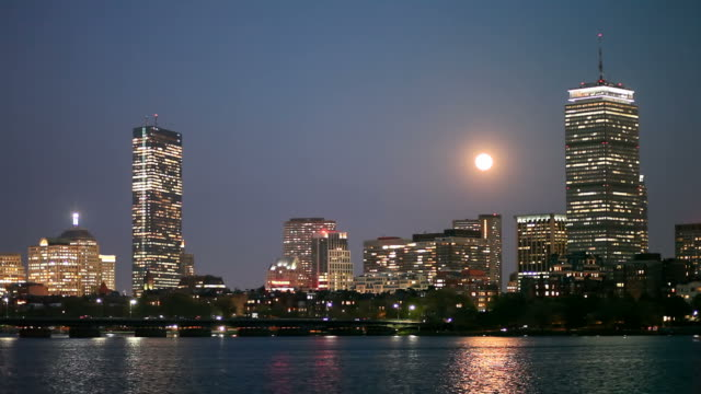 full moon over boston's back bay - back bay boston stock videos & royalty-free footage