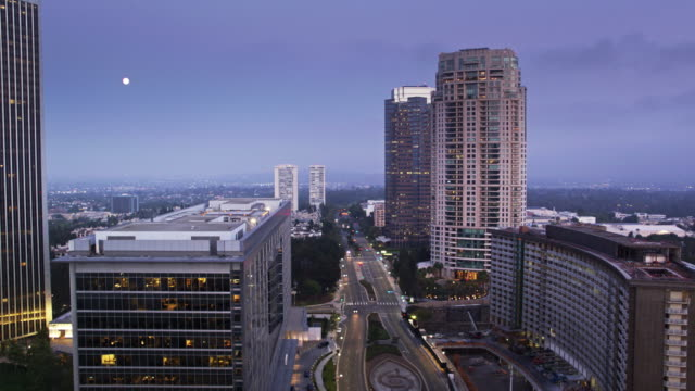 full moon over century city, los angeles - drone shot - century city stock videos & royalty-free footage