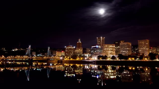 Full Moon Over Downtown Portland Oregon