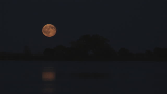 WS Full moon over lake at night / South Dakota City, South Dakota, USA.